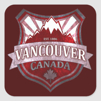 Vancouver Canada red grunge shield square stickers