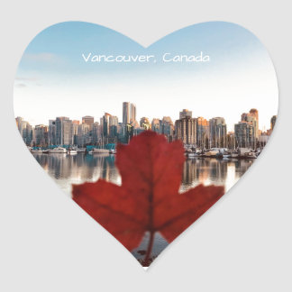 Vancouver Canada Red Maple Leaf Skyline Heart Sticker