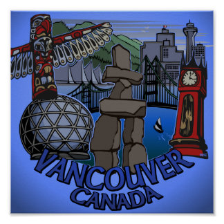 Vancouver First Nations Poster Landmark Art Decor