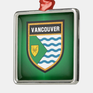 Vancouver Flag Silver-Colored Square Decoration