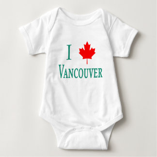 Vancouver I LOVE VANCOUVER with Maple Leaf Baby Bodysuit