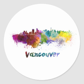 Vancouver skyline in watercolor classic round sticker