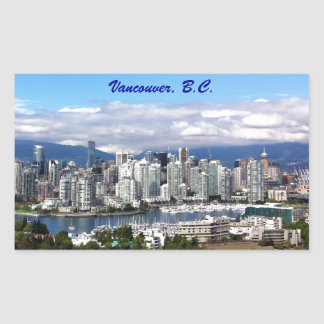 Vancouver Skyline Rectangular Sticker
