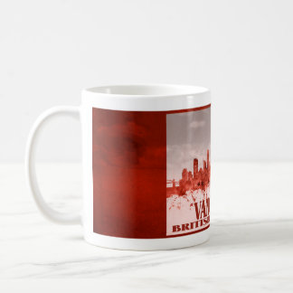 Vancouver skyline with red grunge basic white mug
