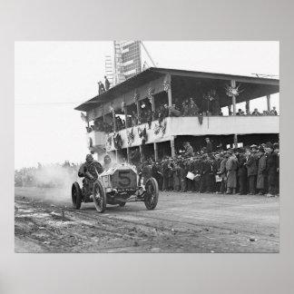Vanderbilt Cup Auto Race, 1908. Vintage Photo Poster