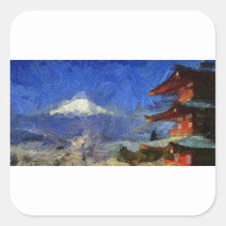 vangogh Mt-Fuji-Japan Square Sticker