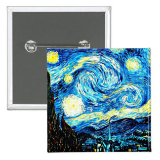 VanGogh, Starry Night 15 Cm Square Badge