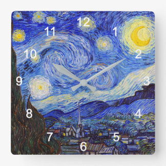 "VanGogh, ""Starry Night"" Square Wall Clock"