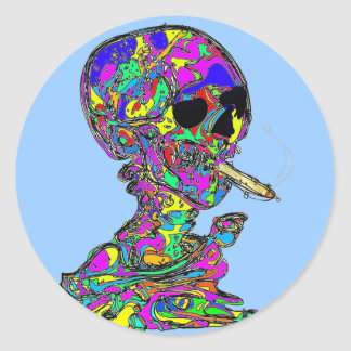 VanGogh's Calavera Skull Smoking Cigarette Classic Round Sticker