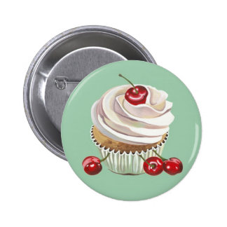 Vanilla cherry cupcake badge button