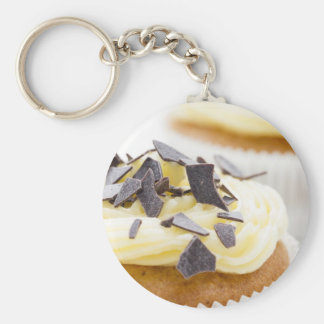 Vanilla Cupcake Basic Round Button Key Ring