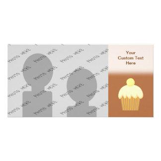 Vanilla Cupcake on Brown Photo Greeting Card