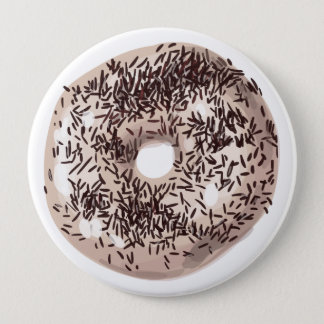 Vanilla Dipped with Chocolate Sprinkles Doughnut 10 Cm Round Badge