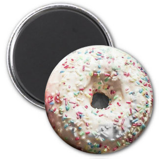 Vanilla Frosted Sprinkled Donut Fun Food Magnet