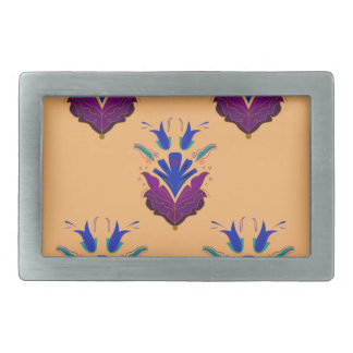 VANILLA handdrawn Ethno Flowers / Original design Rectangular Belt Buckle