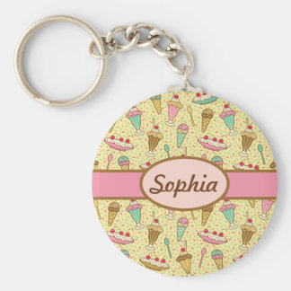Vanilla Ice Cream Basic Round Button Key Ring