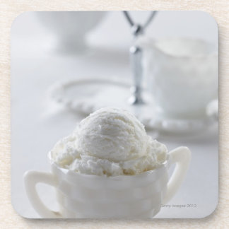 Vanilla ice cream in a white environment beverage coasters
