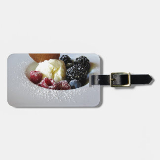 Vanilla ice cream with berries luggage tag