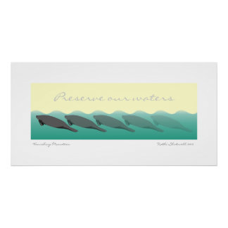 Vanishing Manatees - Preserve our waters 36 x 18 Poster