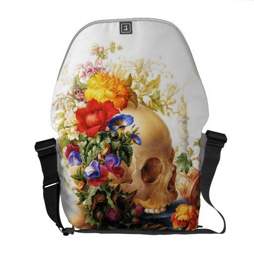 Vanitas Skull Bouquet Rickshaw Messenger Bag