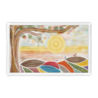 Vanity Tray with whimsical landscape drawing.