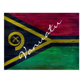 Vanuatu distressed flag postcard