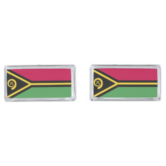 Vanuatu Flag Silver Finish Cuff Links