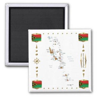 Vanuatu Map + Flags Magnet