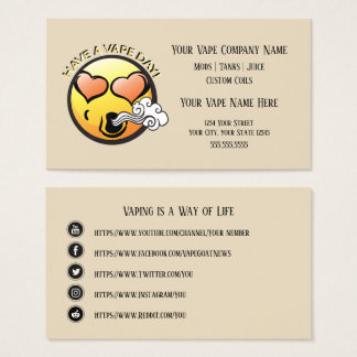 VAPE  | Happy Vaping Business with Social Media Business Card