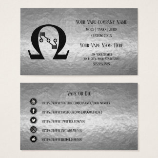 VAPE  | Sub Ohm  Silver Business Social Media Business Card