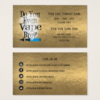 VAPE  | Vape Bro Bronze  Business Social Media Business Card