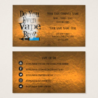 VAPE  | Vape Bro Copper Business Social Media Business Card