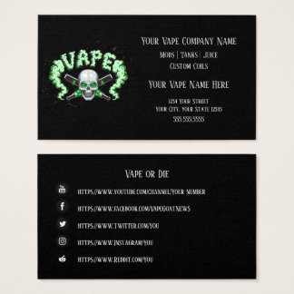 VAPE  | Vape Skull Business with Social Media Business Card