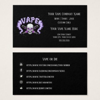 VAPE  | Vape Skull Purple  Business Social Media Business Card