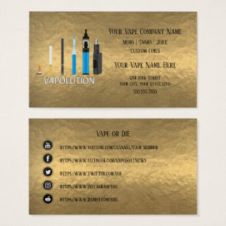 VAPE  | Vapolution Gold  Business Social Media Business Card