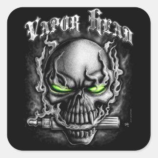 Vapor Head Black Square Sticker