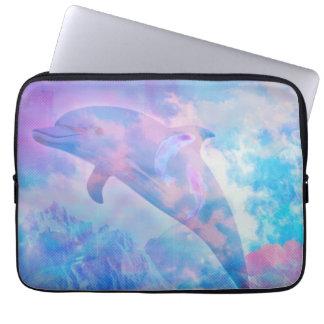 Vaporwave dolphin in the sky laptop sleeve