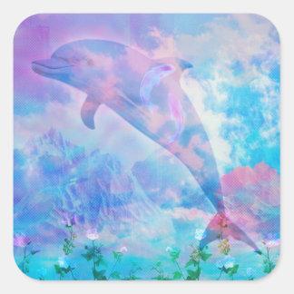 Vaporwave dolphin in the sky square sticker