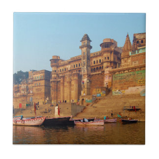 Varanasi India As Seen From Ganga River Small Square Tile