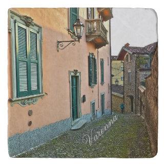 """VARENNA, ITALY/COBBLESTONE STREET/PEACH AND GREEN TRIVETS"