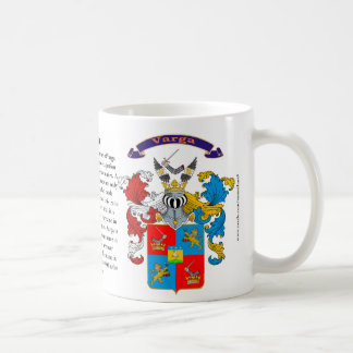 Varga Family Crest including the History and Meani Coffee Mug