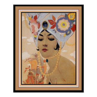 "Vargas Art Deco ""Girl in Turban"" 16 x 20 Poster"