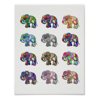 Variations of colorful ornamental elephants poster