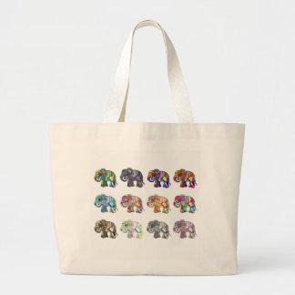 Variations of folk art ornamental elephant parade large tote bag