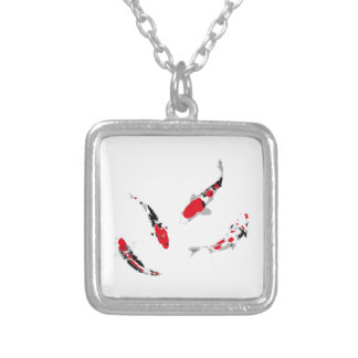 Varicolored carps silver plated necklace