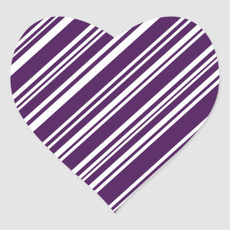Varied Purple and White Angled Stripes Heart Sticker