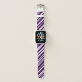 Varied Purple and White Diagonal Candy Stripes Apple Watch Band