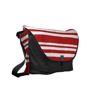 Varied Red and White Stripes, Black Trim Messenger Bag