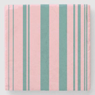 Varied Stripes/Pink & Teal Stone Coaster