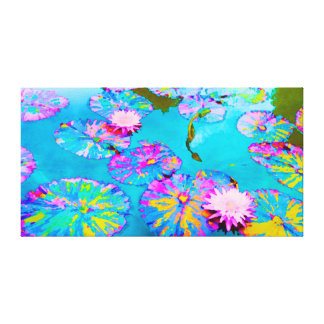 Variegated Lilypads with Pink Waterlilies Canvas Print